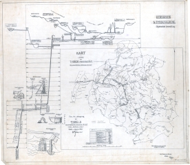 Oversiktskart, skjema, Tyssedal kraftverk. (Norsk Vasskraft- og Industristadmuseum sitt arkiv)