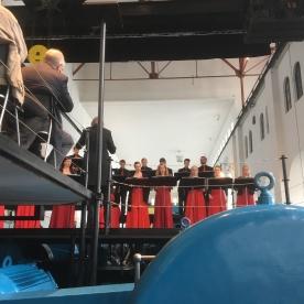 Tysso 1 blir brukt som kulturarena. Det norske solistkor under Hardanger Musikkfest i 2017. (Foto Knut Markhus, Norsk Vasskraft- og Industristadmuseum)
